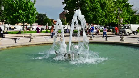 PADUA, ITALY - APRIL 28: The scenic square of Prato della Valle and its beautiful fountain in Padua, April 28, 2018. It is the largest square in Italy, and one of the largest in Europe Stock mozgókép