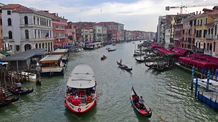 VENICE, ITALY - APRIL 29: Scenic view from the iconic Rialto Bridge, one of the major landmarks in Venice, Italy, as seen on April 29, 2018