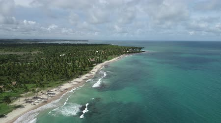 arquipélago : Aerial view of Carneiros Beach, Pernambuco, Brazil: Vacation in the paradise beach with blue sky and crystal water. Deserted beaches. Travel destination. Vacation. Tropical. Tourism point.