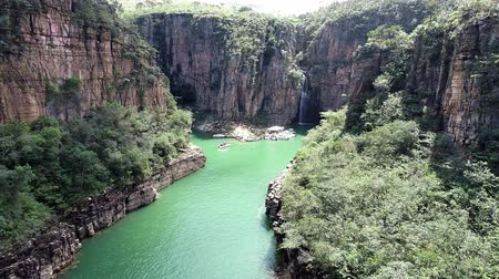 brazília : Aerial view of famous Canyons of Capitolios lagoon. Capitolio, Minas Gerais, Brazil. Beauty landscape. Furnass dam. Tropical travel. Travel destination. Vacation travel.