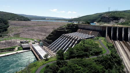 reservoir : Aerial view of Furnass Hydroelectric, Minas Gerais, Brazil. Energy generation. Furnass dam. Capitolios lagoon. Travel destination. Tropical travel. Tourism point.