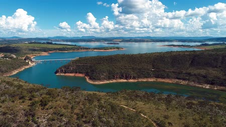 mg : Aerial view of Capitolios Lagoon with beautiful landscape. Capitolio, Minas Gerais, Brazil. Furnass dam. Tropical travel. Travel destination. Vacation travel. Stock Footage