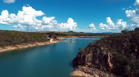 minas gerais : Aerial view of Capitolios Lagoon with beautiful landscape. Capitolio, Minas Gerais, Brazil. Furnass dam. Tropical travel. Travel destination. Vacation travel. Stock Footage