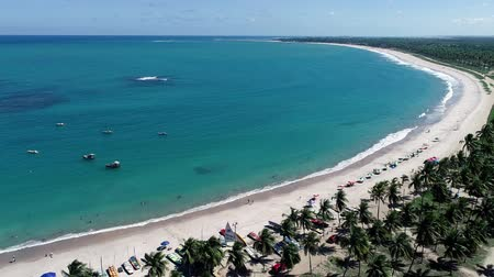 jangada : Aerial view of Porto de Galinhas Beach, Pernambuco, Brazil: unique experience of swimming with fish in natural pools. Fantastic vacation travel. Candles, sailboats, rafts, boats in the harbor!