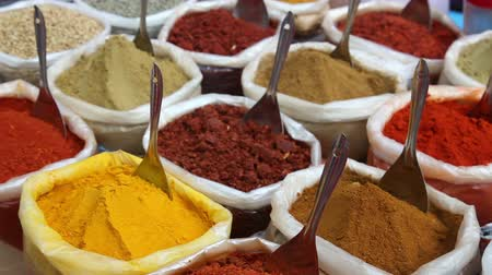 pão de especiarias : Indian colored spices in the bags at Anjuna flea market in Goa, India