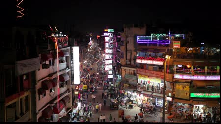 noite : Night Main Bazar in New Delhi
