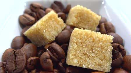 close up of sugar grown cubes with coffee beans  Stock mozgókép