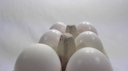 eggs presentation in white background  Stock Footage