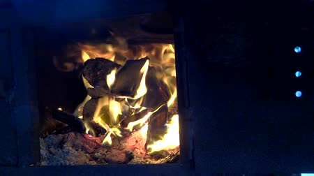 close up old wood stove fire Stock Footage