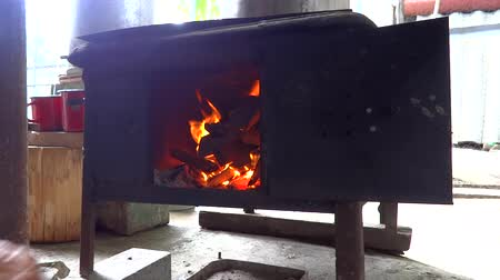 person putting wood in old wood stove