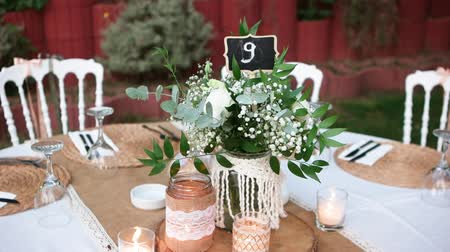 устроенный : Wedding dining table. Table number nine. Rustic wedding.