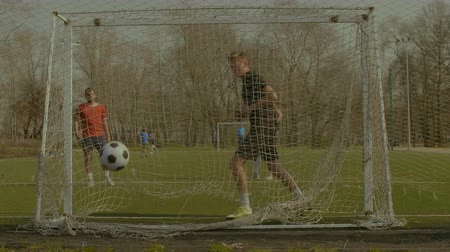 striker : Young goalie failing to save goal after shot from penalty area during football training. Goalkeeper is unable to stop the soccer ball into goal while team practicing football session on the pitch. Stock Footage