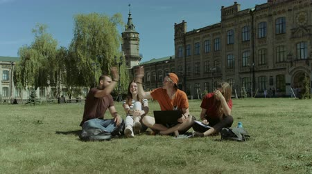aprovado : Excited group of college students with laptop pc receiving good news on line and celebrating while sitting on campus green lawn. Cheerful students checking an approved exam on line on laptop outdoors. Vídeos