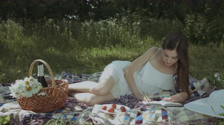 ciltli : Gorgeous intelligent woman in summer dress applying bookmarks in hardcover book while lying on blanket in park. Cheerful charming female enjoying reading while relaxing outdoors on summer day.