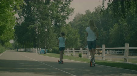 pigtail : Back view of beautiful mother in casual clothes with daughter riding scooters in summer park over natural landscape background. Happy active family spending weekend together in nature. Slow motion. Stock Footage