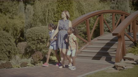 stroll : Multi ethnic family with two lovely little curle girls taking a walk in summer park while relaxing outdoors. Beautiful caucasian mother and preteen mixed race daughters holding hands walking in park. Stock Footage