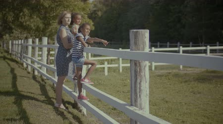 osm : Multi ethinic cheerful family relaxing along wooden fence and looking at view on summer vacation. Carefree caucasian mom and adorable mixed race girls enjoying leisure along fence in countryside. Dostupné videozáznamy