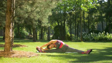 jimnastik : Healthy lifestyle sporty woman exercising and stretching her body while sitting on exercise mat in summer park. Active female doing warming up exercises for leg muscles, arms and spine outdoors. Stok Video