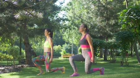 warming up : Active fitness women in sportswear doing front forward one leg step lunge exercise on green grass in summer park. Sporty fit females doing lunges exercises for glute and leg muscle workout training.