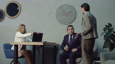 corporate affairs : Angry female boss scolding employees for poor discipline and flirt at company office. Stressed employees receiving rebuke for easy flirt at workplace, suffering from bad attitude of executive at work.