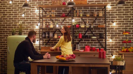 домохозяйка : Positive couple spending leisure together in domestic kitchen in the evening. Beautiful young woman doing housework and talking with boyfriend in the kitchen while relaxing at home after work at night