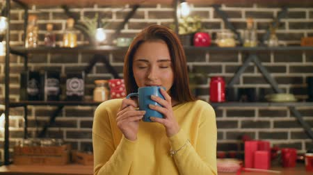 cheerfulness : Charming woman with eyes closed enjoying aroma of hot coffee and smiling over modern kitchen background. Beautiful young female drinking cup of freshly brewed hot coffee, feeling cheerfulness and joy. Stock Footage