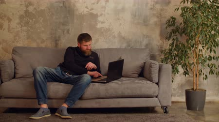 uralkodó : Creative male freelancer networking online with laptop computer while sitting on sofa in loft room. Handsome bearded man in casual clothes ruling his company remotely from home using laptop.