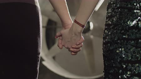 fidedigno : Close-up of passionate lesbian couple holding hands, expressing love, female friendship and support over industrial background. Homosexual partners holding hands, expressing trust, care and happiness. Stock Footage