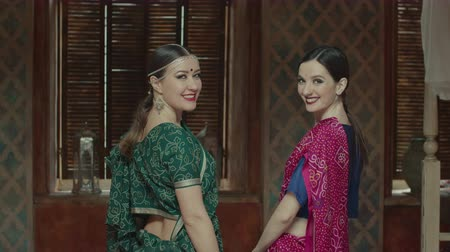 dişlek : Rear view of two attractive females in colorful traditional indian dress sari with bindi points on forehead synchronically turning back and charmingly smiling. Fans of hindu culture posing on camera. Stok Video