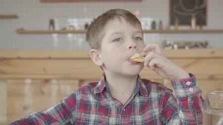 greedily : Preadolescent child greedily eating fried potatoes sitting at cafeteria table. Little short cut boy in checkered shirt enjoying unhealthy fast food and shoving french fries in mouth, gulping. Stock Footage