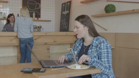 remotely : Focused businesswoman freelance using laptop pc during distant work at cafeteria table. Overweight female freelancer eating french fries calling waitress while networking online on laptop in cafe. Stock Footage