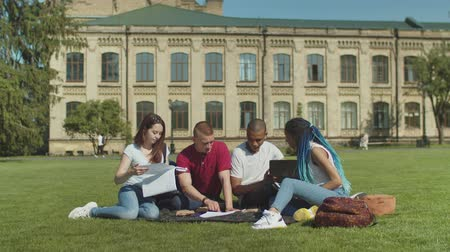 многонациональная : Group of multinational students brainstorming preparing for classes together sitting on grass in front of college. Diverse mates discussing educational material during studying outdoor on campus lawn.