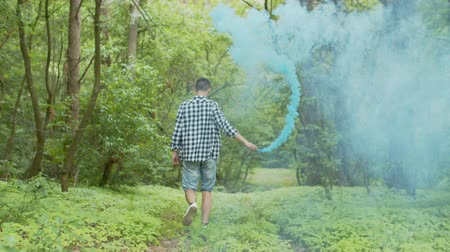 wooden path : Back view of young short cut male waving hand with smoke bomb walking along forest path on sunny day. Casually dressed man going through blue smoke-cloud surrounded by forest greenery.