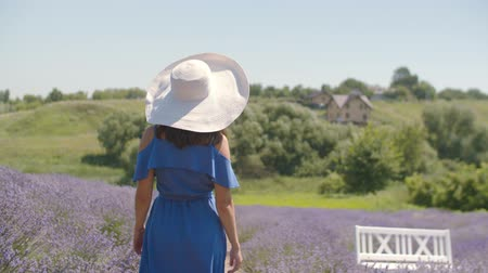duygusallık : Romantic long hair brunette pretty woman in stylish blue dress and white hat taking a walk through violet lavender field, looking dreamy and enigmatic while enjoying beautiful nature in countryside.