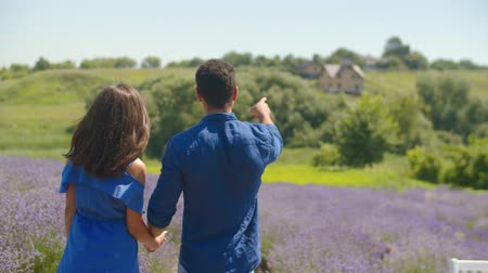 многонациональная : Rear view of multinational romantic couple holding hands walking along purple lavender field while enjoying leisure in nature. Relaxed couple taking a walk in floral glade during summer vacations. Стоковые видеозаписи