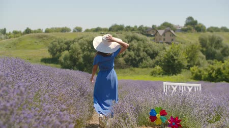 sunhat : Beautiful healthy woman in trendy dress and sun hat running joyfully through lavender field while enjoying outdoor leisure in countryside. Carefree younng female relaxing on summer vacations in nature Stock Footage