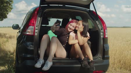 diverso : Excited multiethnic women posing for selfie shot on smart phone while sitting in car trunk during summer road trip. Joyful diverse females taking selfie in car while enjoying leisure in countryside. Stock Footage