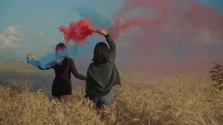 zadní : Diverse charming women enjoying outdoor leisure with colored smoke bombs in rays of setting sun while walking through wheat field, expressing freedom, carefree mood and joy during summer vacations.
