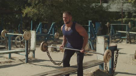 gewichtheffer : Brutal muscular bodybuilder doing heavy deadlift exercise at outdoor gym. Concentrated athletic fit man pumping up muscles with barbell, practicing upright row weight training during outdoor workout.