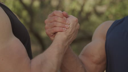 srovnávat : Close-up of muscular male hands making firm clasped handshake outdoors before joint workout. Two strong bodybuilders greeting each other with handshake gesture, expressing respect and friendliness.