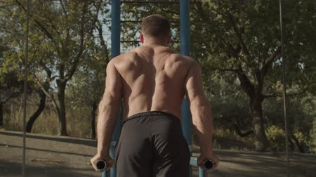bodyweight : Rear view of shirtless muscular athletic man with perfect body doing triceps dips on parallel bars on outdoor gym at sunset. Strong fit guy working out arms, training triceps on dips horizontal bars.