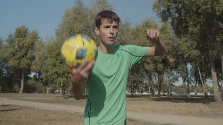 fotbalista : Portrait of handsome soccer player taking correct throw-in from touchline, returning ball to play during football match. Footballer holding ball and doing throw-in while playing soccer on sports field