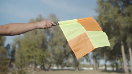 リニア : Close-up of raised flag for offside of assistant referee during soccer game over colorful natural background. Linesman hand with flag signalling for offside trap to referee during football match.