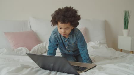 engrossed : Positive fully engrossed in movie cute preschool african american boy with curly hair watching video online using laptop pc on bed. Multiethnic child with laptop streaming cartoons live via internet.