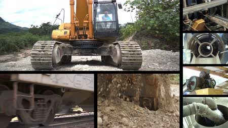 indústria : A collage of different processes in the earth moving and heavy industrial construction industry. Stock Footage