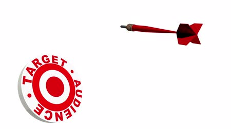 nyíl : A red dart flying through the air in 3D space and hitting a bulls eye in a dartboard labeled with the words target audience.