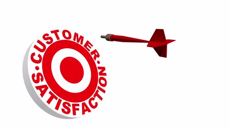 clientes : A 3 dimensional dart flying through the air in slow motion and hitting a dart board bordered with the words customer satisfaction.