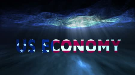 américa central : The words US Economy colored with the United States flag underneath the ocean and moving towards the viewer. Vídeos