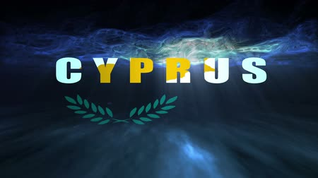 financování : The words underwater Cyprus floating towards the viewer underneath the ocean signifying that the country of Cyprus is financially bankrupt.
