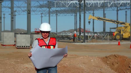 şematik : Female Building Engineer with Schematics Stok Video